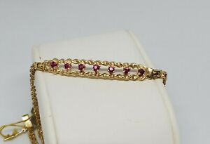 ladies 14k yellow gold double diamond cut solid rope round ruby bracelet 7quot;