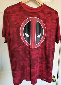 MARVEL Deadpool Dry Fit Shirt Size XL Red Camo Short Sleeve Tee $14.99
