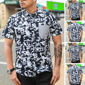Mens Short Sleeve Cargo Camouflage Shirts Casual Button Down Top Blouse T Shirts