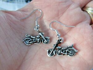 NEW Harley Girl Lady Biker 3D Antique Silver Motorcycle Charms Earrings $5.25