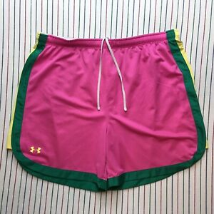580 Under Armour Shorts Women's Sz L HeatGear Fitness Athletic PINK Green Yellow $27.44