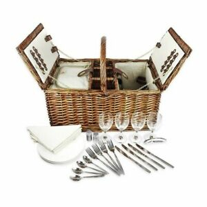 Picnic Basket Set for 4 Person Includes Silverware Glasses and Accessories