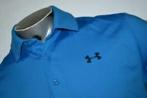 19132 a Mens Under Armour Golf Polo Shirt Size Medium Blue Polyester $18.24