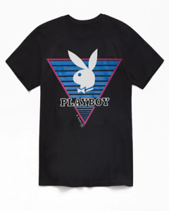 PLAYBOY Vintage inspired t shirt black w triangle TSHIRT $17.20