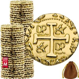 Pirate Coins 100 Metal Gold Coins Fake Fantasy Coins Treasure Hunt Doubloons $25.98
