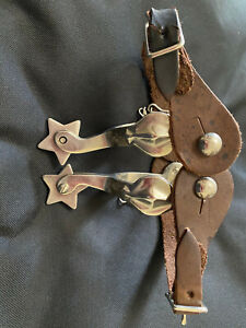 Kids Youth Western Cowboy Cowgirl Spurs w Leather Straps MINT