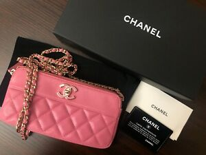 Pink Chanel double zip wallet with chain. Withauthentication card $2000.00