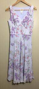 Talbots Petites 8 Light Purple Pure Silk Floral Fit and Flare Dress Lilac $27.99