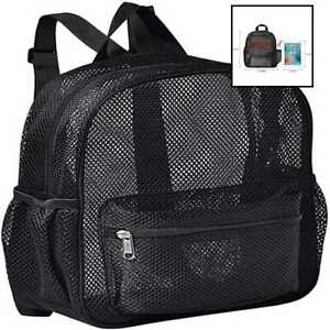 Mini Mesh Backpack See Through SMALL For Commuting Swimming Travel Beach Outdoor