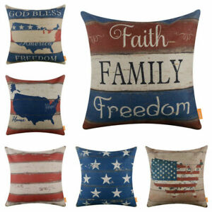 4th of July Cushion Cover America USA Independence Day Pillow Case Home Decor