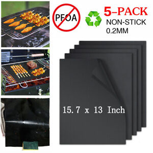 BBQ Grill Mats Set of 5 Outdoor Cooking Baking Non Stick Reusable Grilling Mat