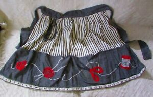 Vintage Apron With Embroidered Sewing Designs amp; Tape Measure On Bottom Hem $16.95