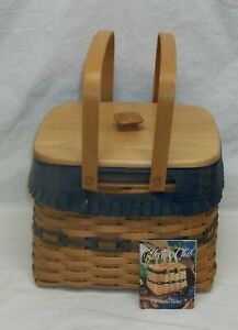 1998 Harbor Basket from Longaberger with Lid and Fabric Liner Collectors Club Ed $31.00
