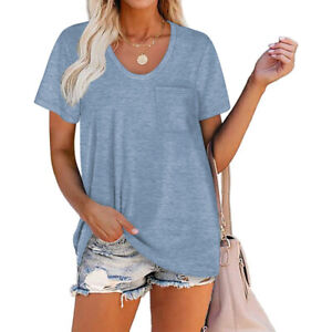 Womens Loose Fit Short Sleeve T Shirts V Neck Casual Basic Tunic Tops Tee Blouse