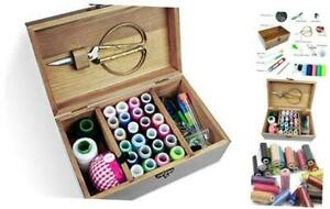 Wooden Sewing Kit Sewing Boxes Organizer with Accessories Wooden Sewing Kits $26.64