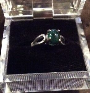EMERALD STERLING SILVER RING SIZE 5 $49.00