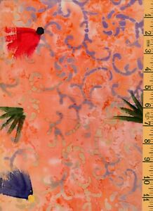 2 Yards 21quot; Quilting Sewing Cotton Fabric Textile Creations Batik Salmon 07 $12.25