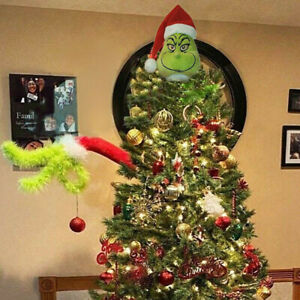 Furry Green Grinch Arm Decoration Frame with Christmas Tree Ornaments $16.00