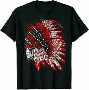 Indian Chief Skull Native Comanche American T Shirt Cotton Trend 2021 SIZE S 5XL $12.99