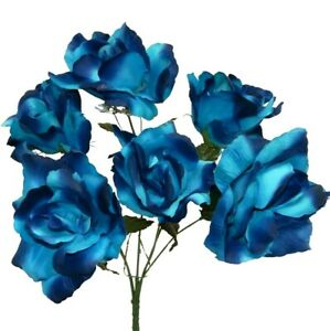 6 Open Artificial Roses Blue 2 Tone Soft Silk Flowers Bouquets Fake Faux