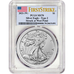 2021 W American Silver Eagle Type 2 PCGS MS70 First Strike