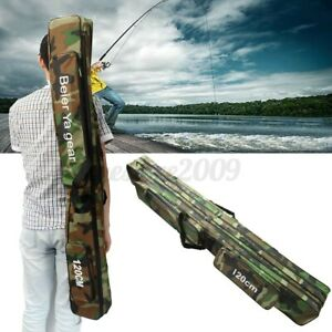 47#x27;#x27; 3 Layer Fishing Bag Rod Reel Case Carrier Holder Fishing Pole Storage Bags