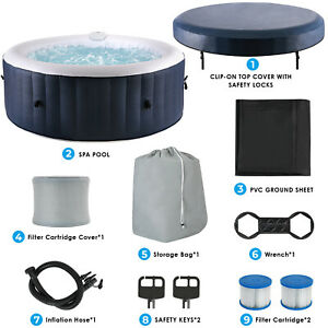 4 Person Inflatable Hot Tub Jets Spa with Tub Cover Built in Heater 71x26.5quot;