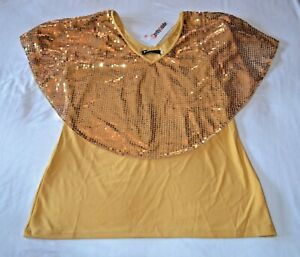 Gold Pretty Guide Top New NWT Sequined Cape Collar XL Bling Party Blouse $19.99