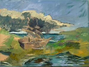 Nautical Landscape Oil Painting Abstract Original Signed 18quot;x24quot; on Canvas
