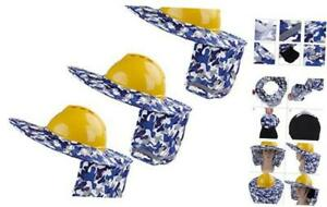 3 Pieces Hard Hat Sun Shade Sunshade Neck Shield with Full Camouflage Blue