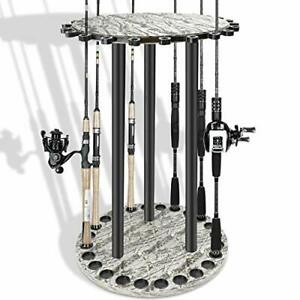 Fishing Holder Stand Holds up to 24 Rod Rack for All Types of Rods Round MDF