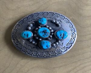Navajo Sterling Buckle with Turquoise And Stamp Work Decoration $149.99