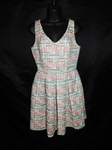 Trina Turk Size 4 White Pink Green Dress Sleeveless Fit Flare Pleated Knee Sm $14.99