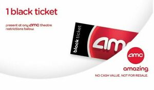 1 AMC Black Movie Ticket Fast Delivery No Expiration w PIN Reserve Online