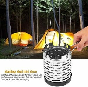 Camping Mini Heater Portable Stainless Steel Anti rust Heating Hiking BBQ Silver