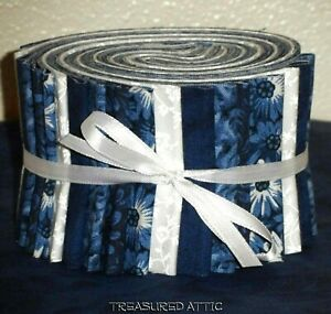 Jelly Roll Strips Quilting Fabric 20 2.5quot; Blue Navy White Floral Sewing Cotton $14.45