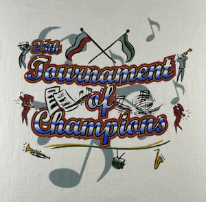 VINTAGE Tournament of Champions Shirt Adult Extra Large XL White Music Men#x27;s 90s