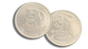 New 1 oz .999 AG Fine Silver Round Don#x27;t Tread On Me Stamped IN STOCK $32.10