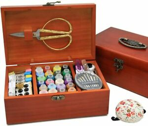 Wooden Sewing Basket with Accesssories Sewing kit Compartments 8.5 x 5.3 x 3 in $35.99