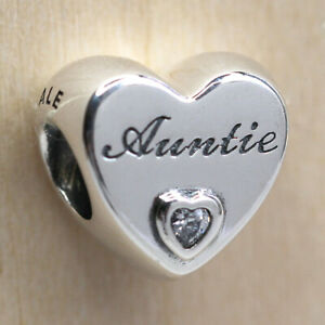 Authentic Pandora 798261CZ 925 Sterling Silver Auntie Love Heart Bead Charm $21.99