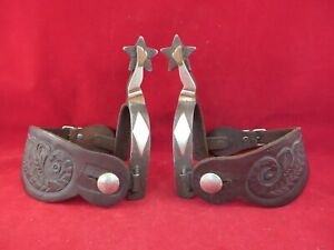 PAIR OF CROCKETT DOUBLE MOUNTED GAL LEG LADY LEG SPURS WITH STRAPS