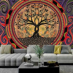 Trippy Tree Mandala Tapestry Psychedelic Wall Hanging Blanket for Bedroom Decor $7.99