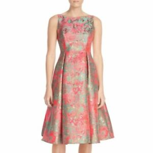 Adrianna Papell Pink Metallic Jacquard Fit Flare Mid Length Cocktail Dress $105.95