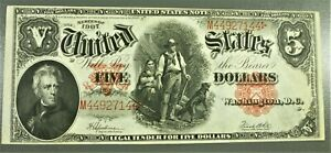 1907 United States $5 Wood Chopper Legal Tender Large Note High Grade