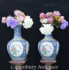 Pair Ming Porcelain Vases Chinese Shanping Temple Urns $850.00