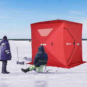 4 Person Portable Ice Fishing Shelter Outdoor Tent w Travel Bag amp; Windows Red