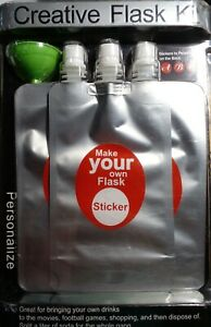 Flask2Go 3 Pack Flexible Reusable Flask personalize make your own flash. Soda