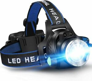 GRDE Zoomable 3 Modes Super Bright LED Headlamp Rechargeable Headlamp Car NEW $22.49