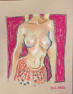 Nude Female Abstract Impressionism Pastel Painting 12quot;x9quot; Original Signed Paper