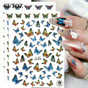 Nail Stickers Butterfly Flower Nail Art DIY Waterproof Adhesive Transfer Decal